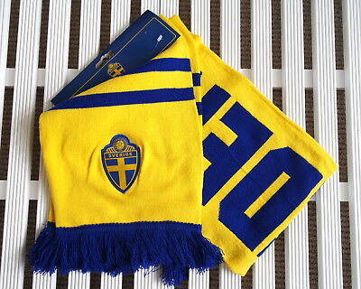 Official SWEDEN Sverige Soccer Football Calcio Scarf TAGS Yellow Blue SVF
