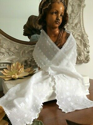 Antique French 1920's Petticoat Flounce~Beautiful Lawn Cotton /Broderie Anglaise
