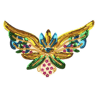 DIY Paillette Sequin Butterfly Embroidery Applique Patch Iron/Sew On Clothes