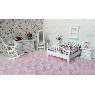 1:12 Dollhouse Miniature Bedroom Furniture Wooden Bed Dresser Mirror Chair