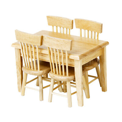 1/12 Wooden Dollhouse Miniature Furniture Mini Dining Room Table & Chair Toy