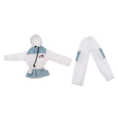 Fashion Doll Fireman Clothes Suit Tops Pants For 12inch Soldier Doll White