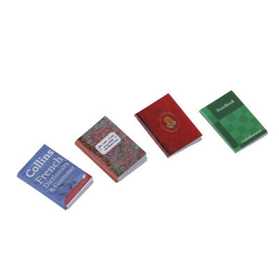 4Pcs Mini Notebooks for 1/12 Dollhouse Miniature Library Study Room Accs