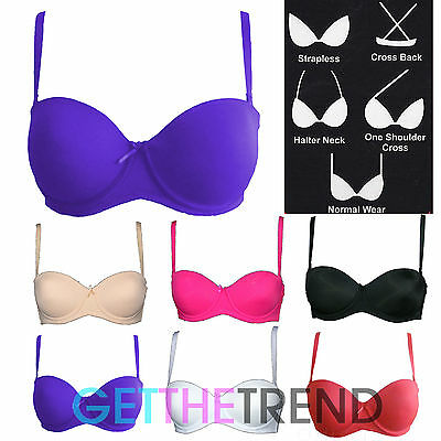 5 WAY Multiway Strapless Padded Bra Cup Black Skin Nude White UK SIZE 34B - 40DD