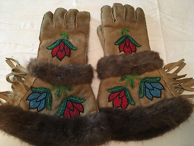 Vintage indian Beaded Guantlets with beaver - beautiful pair