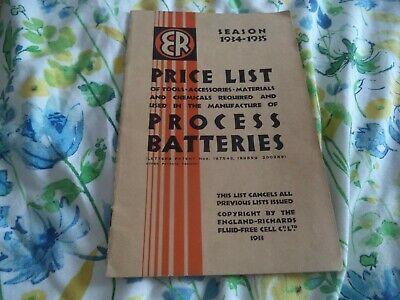 Process Batteries, Tools Accessories Catalogue 1934-35   Scarce