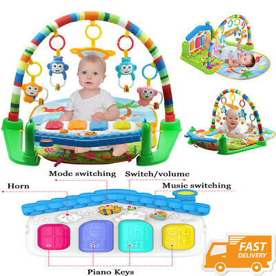 3 in 1 Fitness Baby Gym Play Mat Lay Play Music  Lights Fun Piano Toy Green UK