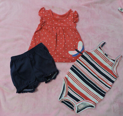 Carter's Baby Girl's 3- Piece Set,Tunic, Top & Shorts, Size 12 Months
