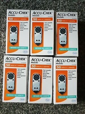 Accu-Chek Mobile Blood Glucose Diabetic 300 tests/6 cassette BNIB EXP 02/2020