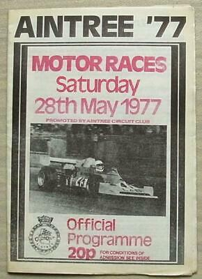 AINTREE 28 May 1977 AINTREE CIRCUIT CLUB MOTOR RACES Official Programme