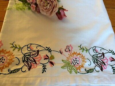 Beautiful White Cotton Twill Single Sheet / Tablecloth Hand Embroidered Edge