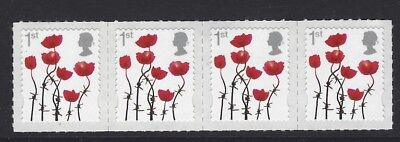 2012 Gb Qe2 Lest We Forget 1St Class Commemorative Stamp Strip Red Poppy Sg3414
