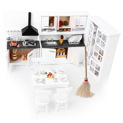 Miniature Wood Kitchen Cabinet Mop Set for 1/12 Doll House Dining Room Decor