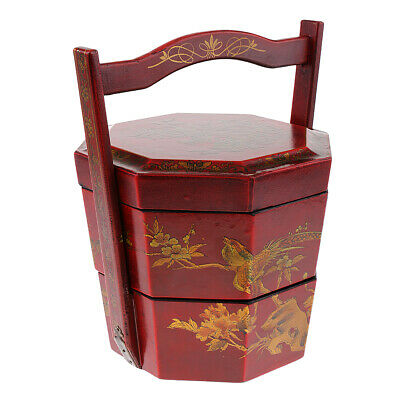 Wooden 2 Layers Food Boxes Hand Basket Lunch Box Chinese Retro Antique Style