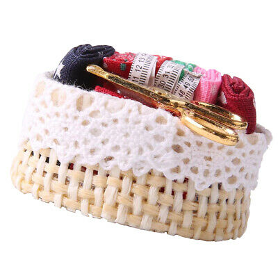 1:12 Scale Dollhouse Miniature Sewing Wicker Basket with Mixed Accessories