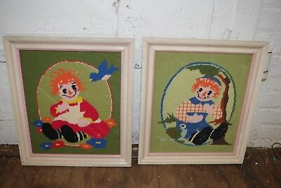 Vintage Pair Handmade Needlepoint Raggedy Ann & Raggedy Andy Framed Wall Art