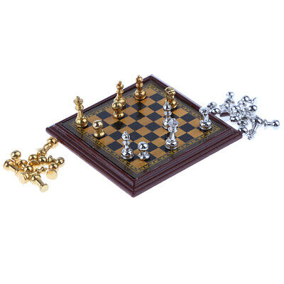 1/12 Dollhouse Miniature Metal Chess Toy with Chessboard & 32 Pieces Chess