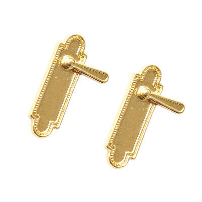 Dollhouse Miniature Pair of 2 Lever Style Door Handles with Back Plates #WCHW62B