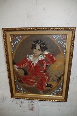 Vintage Ornate Gold Gilt Carved Wood Picture Frame BOY NEEDLEPOINT for Painting