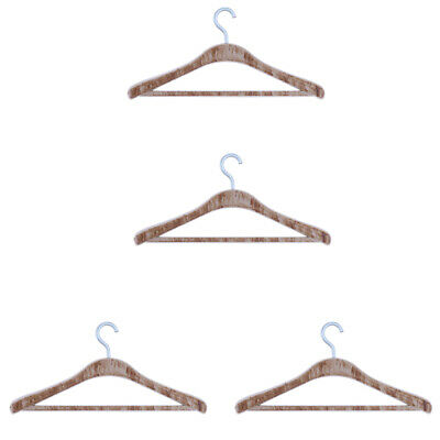 1:12 Dollhouse Miniature 4pcs Brown Hangers for Bedroom Wardrobe Clothing