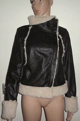 New Look Age 14-15 Years, Brown Faux Leather/Fur Jacket, 164-170Cm, Nwot