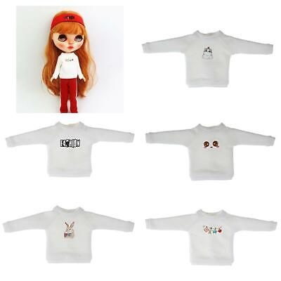 1//6 Cute Printing Doll Clothes Cotton Long Sleeve Pullover for 12/'/' Blythe BJD