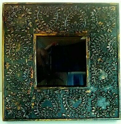 Arts & Crafts Mission Style Picture Frame Distressed Resin Copper Tone Trim