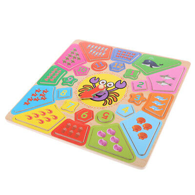 Fun Wooden Educational Toy - Number Shape Color Puzzle Jigsaw Early Learning