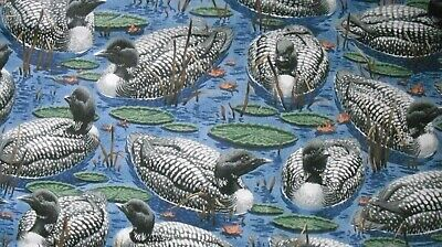 """5 3/4 Yards Cranston Print Works Waterfowl Theme Fabric With Ducks Or Loons 44""""W"""