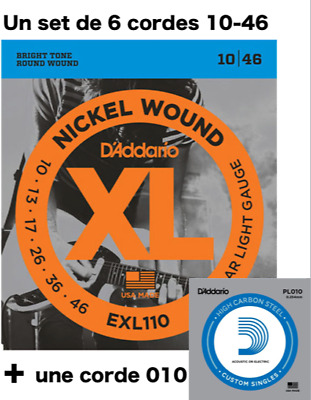 Set 6 Strings +1 D'ADDARIO Exl110 XL - 10 À 46 - Nickel - Electric Guitar