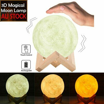 Dimmable 3D Magical Moon Lamp USB LED Night Light Touch Sensor 3 Color Changing