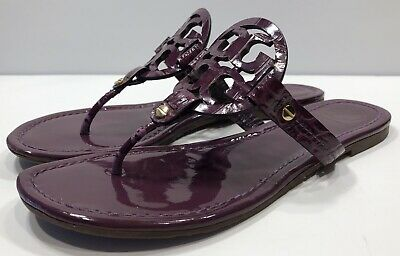 c71c933ea49d Tory Burch Miller Purple Patent Leather Sandals Textured Logo Size Sz 8 M