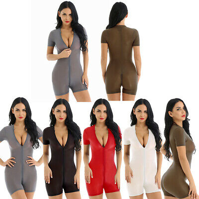 Women's One Piece See Through Nylon Short Tank Bodycon Bodysuit Jumpsuit Rompers