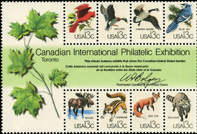 1978 13c Canadian Wildlife Exhibition (CAPEX), Sheet of 8 Scott 1757 Mint VF NH
