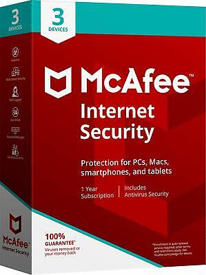 *NEW* McAfee Internet Security 2018 3 PCs Devices 1-Year FREE UPGRADE to Latest