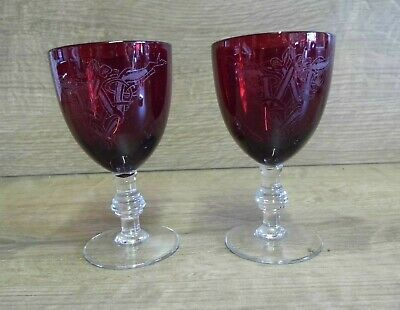 2 x  Small Red & Clear Stemmed Engraved Glasses/Goblets