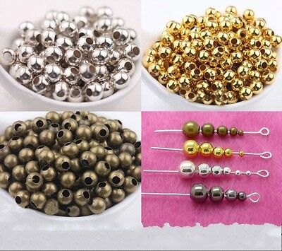 Wholesale Lot Metal Round Spacer Beads 2.5mm 3mm 4mm 5mm 6mm 8mm Yc