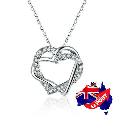 New 18K White Gold Filled Women's Love Heart Pendant Charm Necklace Crystal Gift