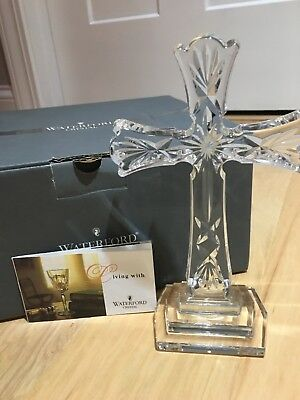 "Waterford Crystal 8"" Standing Tall Cross New In Box"