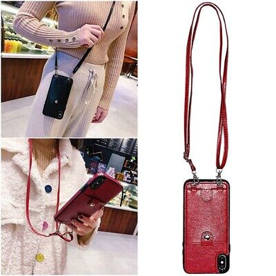 Luxury Card Slot Wallet With Shoulder Strap PU Leather Phone Bag Case for iphone