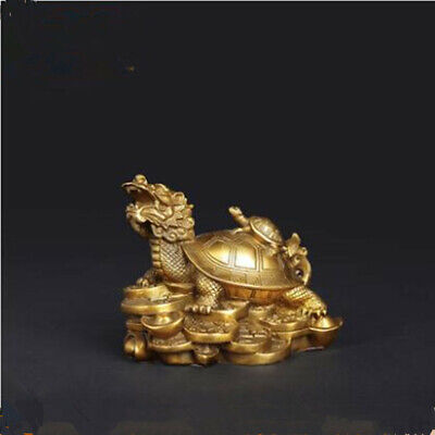 1Pc Gold Feng Shui Dragon Turtle Tortoise Statue Figurine Coin Money Wealth Luck