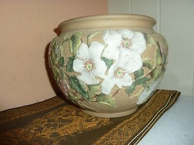 19TH/EARLY 20THC BRITISH ART STONEWARE POTTERY JARDINiERE WITH FLOWER/LEAF DECOR