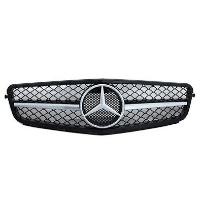 Mercedes C W204 Black Grille Saloon/Estate/Coupe AMG C43 Silver Chrome Star
