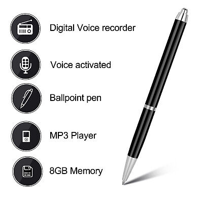 Registratore Vocale Spia Penna Registratore Audio Digitale Lettore MP3 Pen 8GB