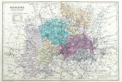 MIDDLESEX, 1886  - Original Large Antique County Map, Bacon.
