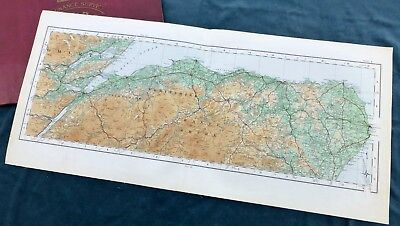 SCOTLAND - Vintage Cloth OS MAP, 1924 - INVERNESS & THE MORAY FIRTH