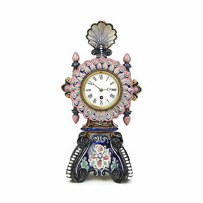 Antique English Joseph Roth Majolica Mantel Clock 19Th C.