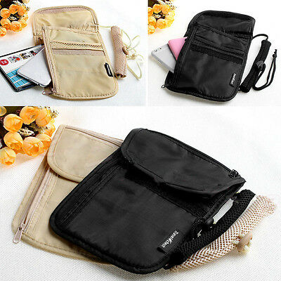 Secure Passport Neck Pouch Money Cord Clothes Wallet Organizer Holder Bag NT