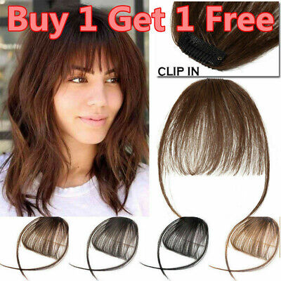 Thin Neat Air Bangs Natural Human Hair Extensions Clip in on Fringe Front Hair