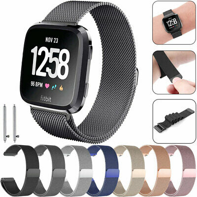 For Fitbit Versa, Lite, Versa 2 Steel Metal Loop Watch Band Loop Magnetic Strap